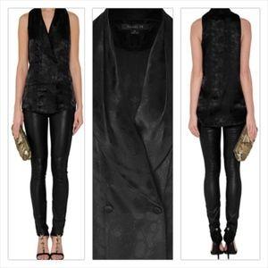 NWT Rachel Zoe Black Textured Silk Tuxedo Vest